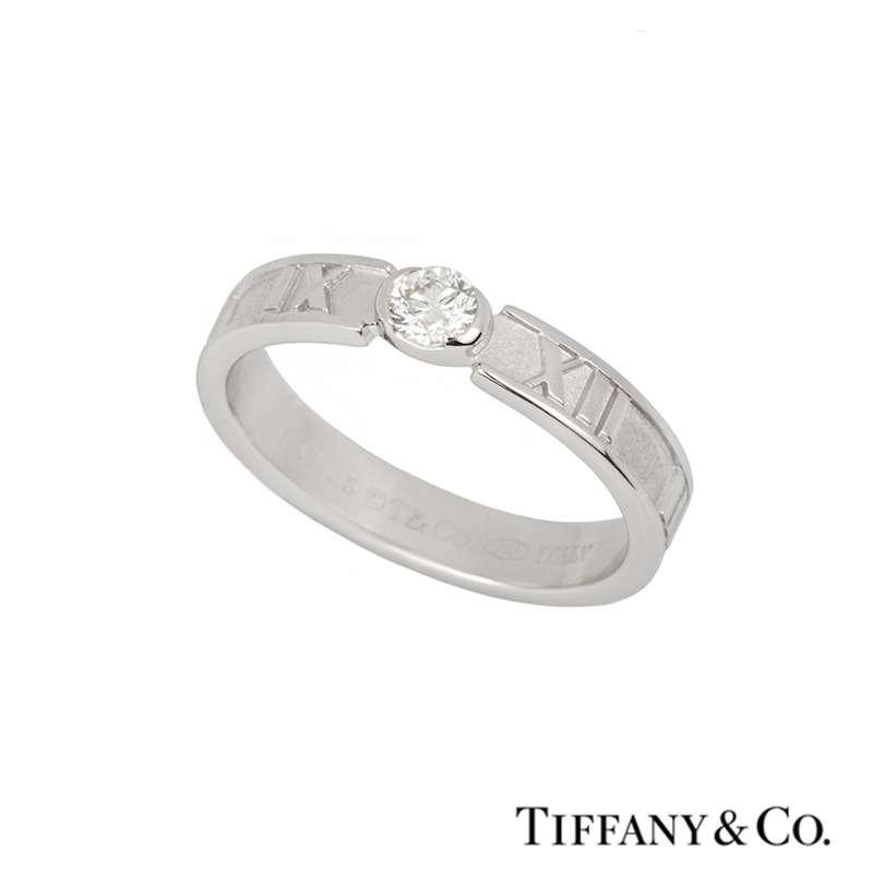TIffany & Co. 18k White Gold Diamond Set Atlas Ring